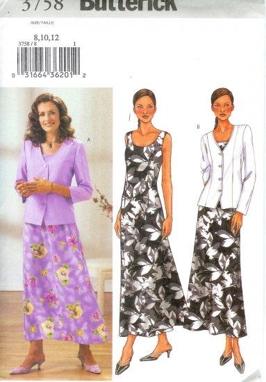 B3758 Butterick Pattern EASY Jacket, Dress Misses/Miss Petite Size 8, 10, 12