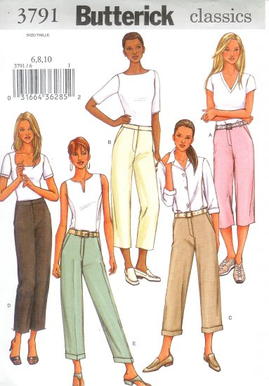 B3791 Butterick Pattern EASY Pants Misses/Miss Petite Size 12,14, 16