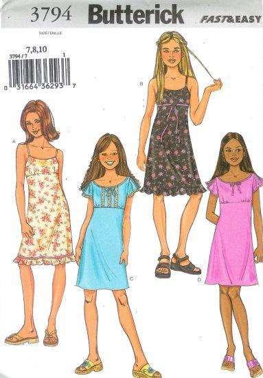 B3794 Butterick Pattern FAST EASY Dress Girl Size 12, 14, 16