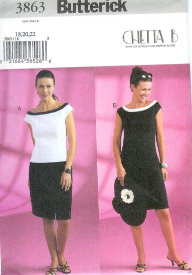 B3863 Butterick Pattern CHETTA B Top, Skirt, Dress Misses/Miss Petite Size 18, 20, 22