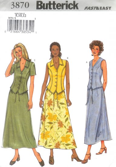 B3870 Butterick Pattern FAST & EASY Top, Skirt Misses/Miss Petite Size 8, 10, 12