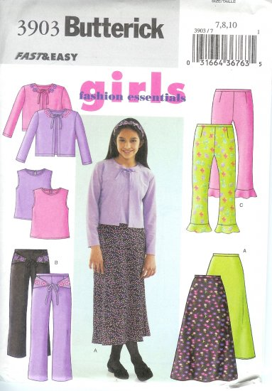 B3903 Butterick FAST & EASY FASHION Cardigan, Top, Skirt, Pants Girl Size 7, 8, 10