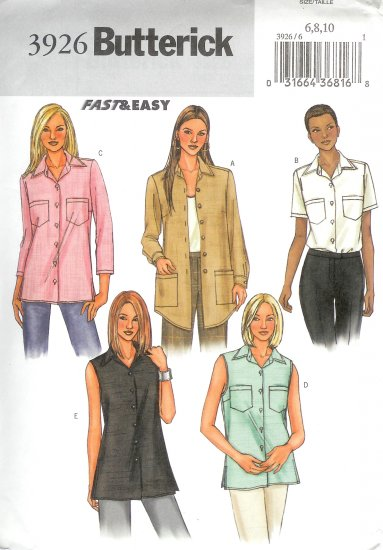 B3926 Butterick Pattern FAST & EASY Top Misses/Miss Petite Size 6, 8, 10