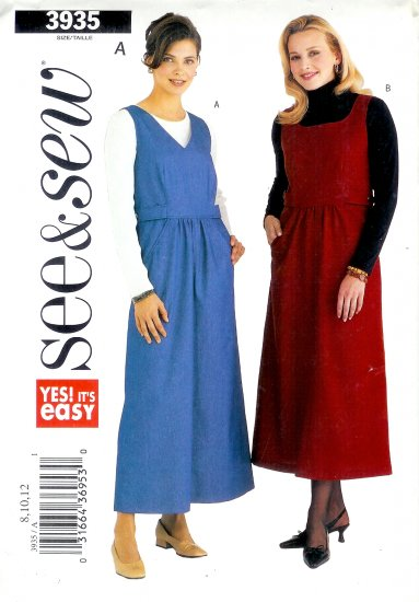 B3935 Butterick Pattern EASY SEE & SEW Jumper Misses/Miss Petite Size 14, 16, 18