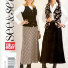 B3941 Butterick Pattern EASY SEE & SEW Vest, Skirt Misses Size 12, 14, 16