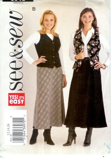 B3941 Butterick Pattern EASY SEE & SEW Vest, Skirt Misses Size 18, 20, 22