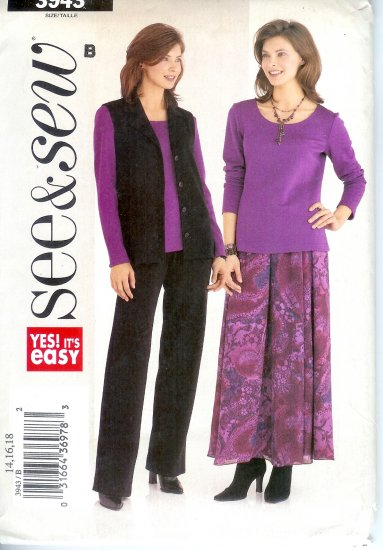 B3943 Butterick Pattern EASY SEE & SEW Vest, Top, Skirt, Pants Misses Size 14, 16, 18
