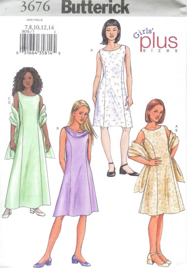 B3676 Butterick Pattern Dress, Scarf PLUS Girls Size 8 1/2 - 16 1/2
