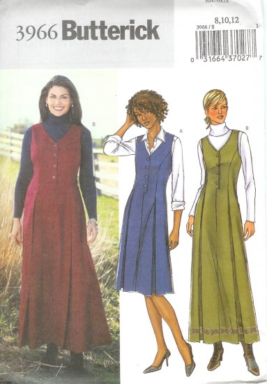 B3966 Butterick Pattern EASY Jumper Misses Size 8, 10, 12