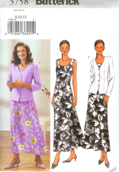 B3758 Butterick Pattern EASY Jacket, Dress Misses/Miss Petite Size 20, 22, 24