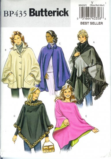 BP435 Butterick Pattern EASY Ponchos Misses Size XS, S, M