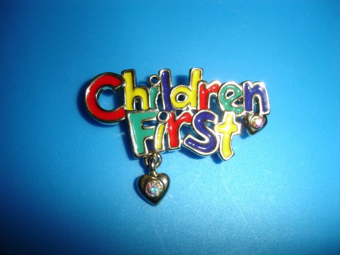 """AAI Signed """"CHILDREN FIRST"""" brooche"""