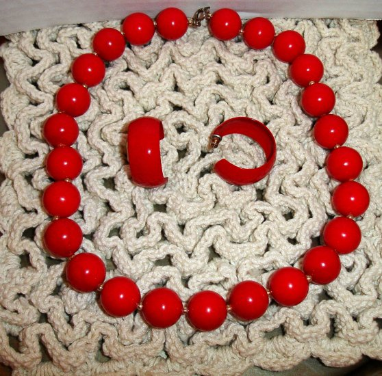 RED Bead Necklace with matching earrings
