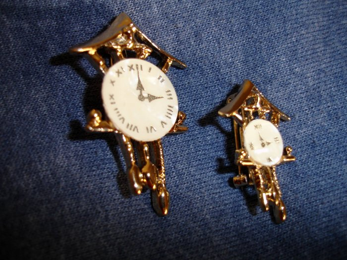 Set of COO COO Clock brooches