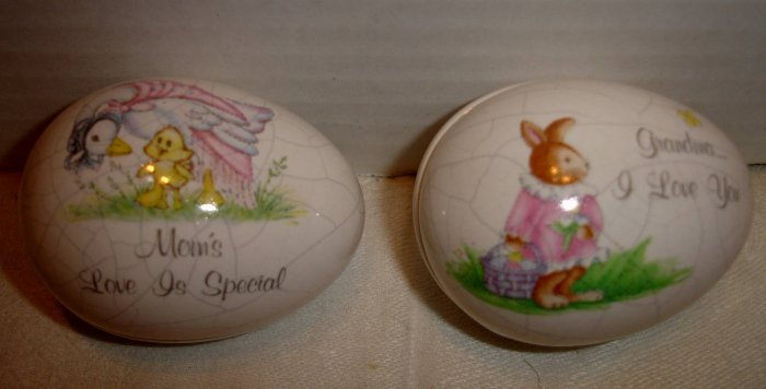 Pair of ceramic RUSS BERRIE Easter eggs