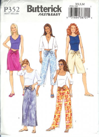 BP352 Butterick Pattern FAST&EASY Skirt, Shorts, Pants Misses/Miss Petite Size XS,S,M