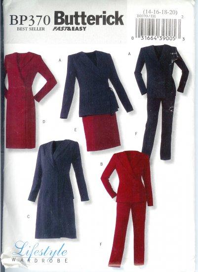 BP370 Butterick Patterns FAST&EASY Jacket, Dress, Skirt, Pants Misses Size 14-20