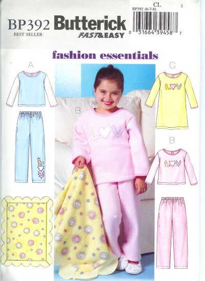 BP392 Butterick FAST&EASY Top, Gown, Pants, and Blanket Child/Girls Size CL 6-8