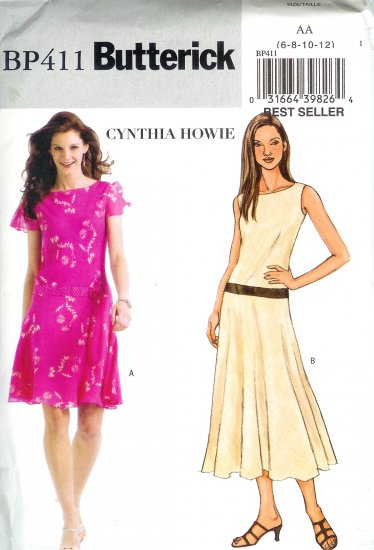 BP411 Butterick Pattern CYNTHIA HOWIE EASY Dress Misses/Miss Petite Size AA 6-12