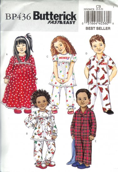 BP436 Butterick FAST&EASY Nightgown, Pajama Top & Pants Todd/Child Size CB 1-3