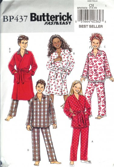 BP437 Butterick FAST&EASY Robe, Belt, Top, Pants Boy/Girl Size CH 7-10