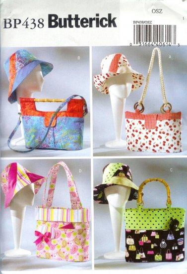 BP438 Butterick Pattern Handbags, Totes & Matching Hats   OSZ