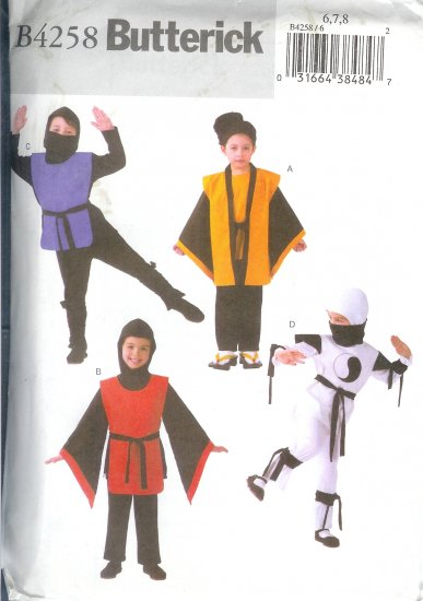 B4258* SOLD* Butterick Pattern EASY Ninja Costumes Child/Unisex  Size 2,3,4,5
