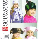 B4584 Butterick Pattern EASY SEE&SEW Hat, Scarf, Mittens   OSZ