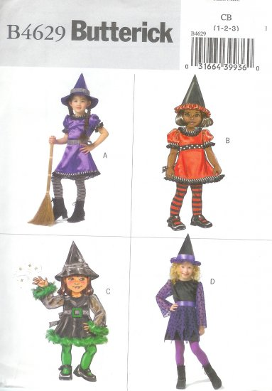 B4629 Butterick Pattern EASY Witch Costumes Todd/Child Size CB 1-2-3