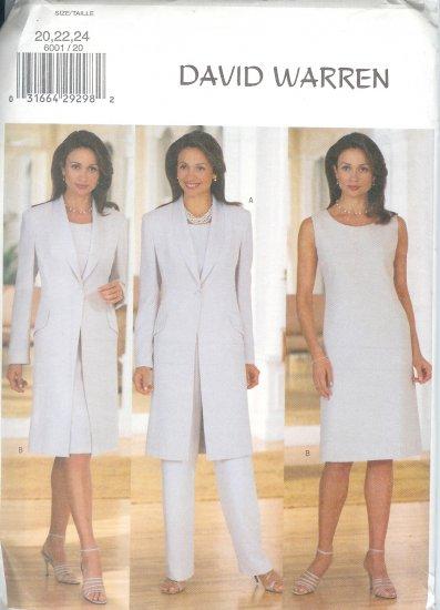 B6001 Butterick Pattern DAVID WARREN Jacket, Dress,Top, Pants  Misses/Miss Petite Size 8,10,12