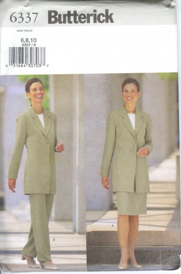 B6337 Butterick Pattern EASY Jacket, Skirt, Pants Misses/Miss Petite Size 6,8,10