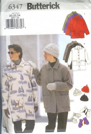 B6347 Butterick Pattern EASY Jacket, Hat, Mittens Misses/Miss Petite Size 20, 22, 24
