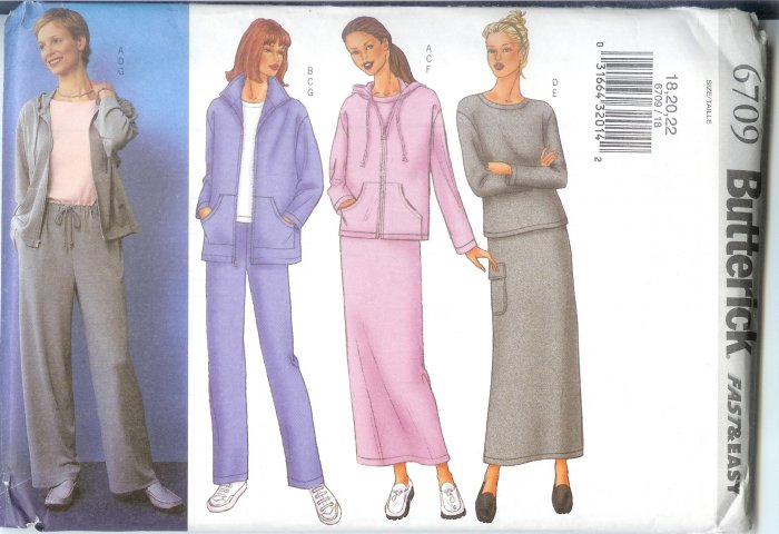B6709 Butterick Pattern FAST & EASY Jacket, Top, Skirt, Pants Misses/Miss Petite Size 12,14,16
