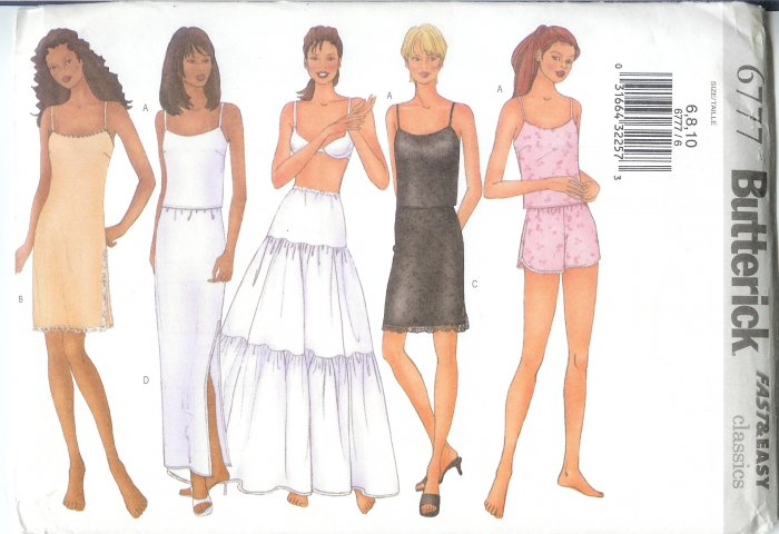 B6777 Butterick FAST&EASY Camisole,Slip,Half-Slip,Shorts,Petticoat Misses/Miss Petite Size 12-16