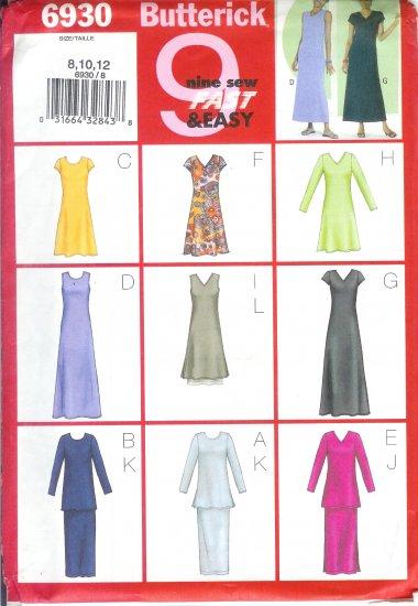 B6930 Butterick Pattern 9 SEW FAST & EASY Dress, Tunic, Skirt  Misses/Miss Petite Size 8, 10, 12