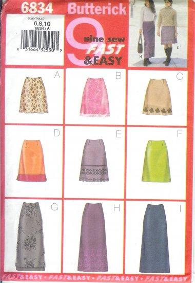 B6834 Butterick Pattern 9 FAST & EASY Skirt  Misses/Miss Petite Size 12, 14, 16