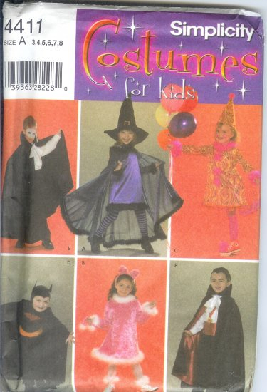 S4411 Simplicity COSTUMES FOR KIDS Unisex Size A 3,4,5,6,7,8