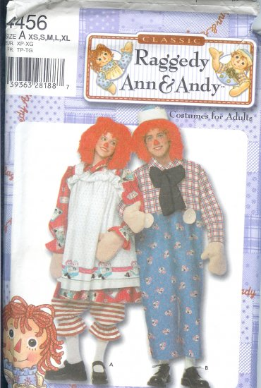 S4456 Simplicity Pattern RAGGEDY ANN & ANDY Costumes for Adults Size A XS - XL