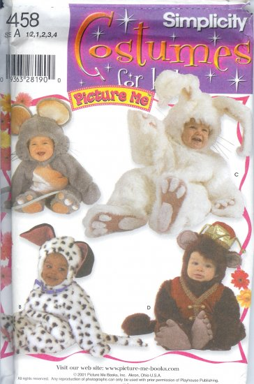 """S4458 Simplicity Pattern COSTUMES FOR KIDS """"PICTURE ME"""" Toddler Size A 1/2-4"""