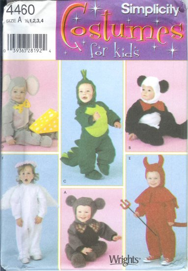 S4460 Simplicity Pattern COSTUMES FOR KIDS Toddler Size A 1/2, 1, 2, 3, 4
