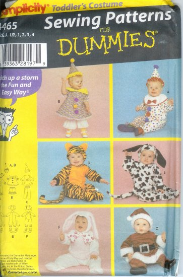 S4465 Simplicity Pattern FOR DUMMIES Toddlers Size A 1/2, 1, 2, 3, 4