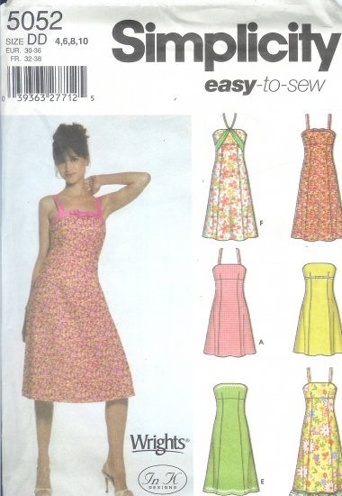 S5052 Simplicity  EASY TO SEW Dress in Lengths with trim variations Misses/Miss Petite Size 4-10