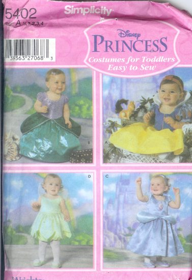S5402 Simplicity Pattern  EASY TO SEW DISNEY PRINCESS Toddler Size A 1/2-4