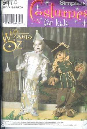 S5414 Simplicity Pattern WIZARD of OZ Costumes for Kids Child Size A 3-8
