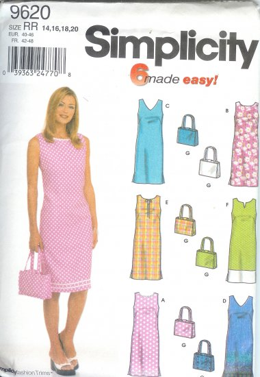 S9620 Simplicity Pattern 6 MADE EASY Dress and Purse Misses/Miss Petite Size RR 14, 16, 18, 20