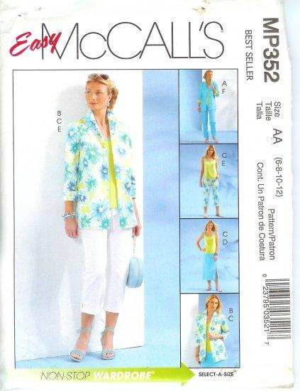 MP352 McCalls EASY Shirt-Jacket, Top, Skirt,& Pants Misses/Miss Petite Size 10 - 16