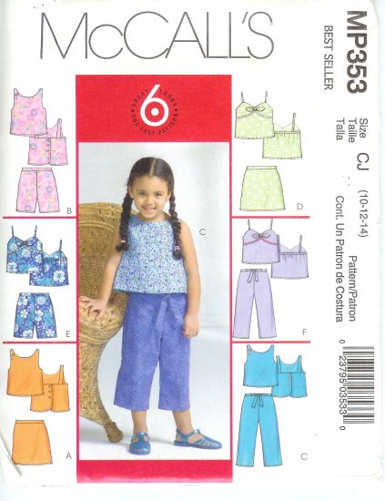 MP353 McCalls 6 EASY LOOKS Tops, Skorts, Shorts, Capri Pants Child/Girl CCE 3-4-5-6