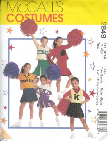 M2849 McCalls Pattern Cheerleading Costume Child/Girl Size 12 - 14
