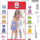 M3602 McCalls Pattern8 GREAT LOOKS Tops, Pull-On Shorts Child/Girl Size CH 7-8-10