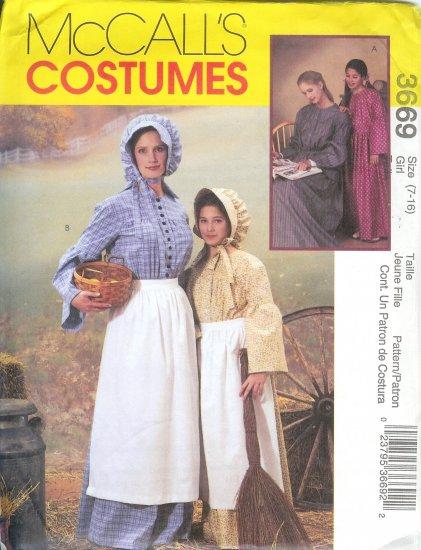 M3669 McCalls Pattern Prairie Costumes Girls/Misses Size 7 - 16